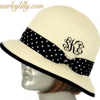 Monogrammed Ladies Mini Floppy Hat in Black Dot