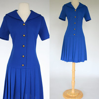 Adorable 1960's blue sailor dress 60's drop waist pleated nautical short sleeve gold button up Fred Rothschild size small size 6 mid calf