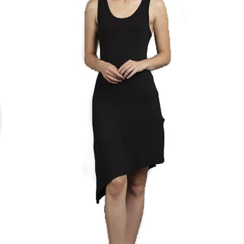 Destiny Black Asymmetrical Tank Dress