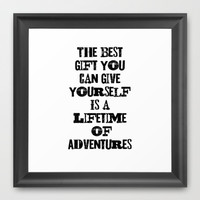 Adventures. Framed Art Print by Jeans and Tees and Travel and Cakes