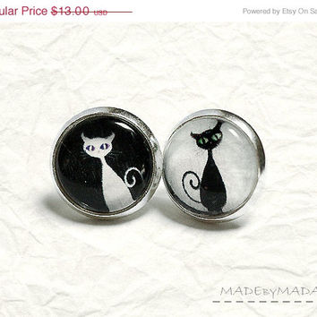 on SALE Black & white Cat Post Earrings Fun Jewelery,  from MADEbyMADA