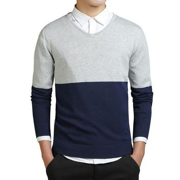 2 Colors Patchwork Preppy Office Sweaters Men Formal Work Sweaters