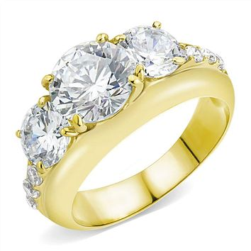 WildKlass Stainless Steel Ring IP Gold(Ion Plating) Women AAA Grade CZ Clear