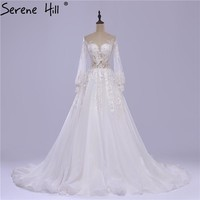 White Tulle Wedding Dress Embroidery Long Sleeves Sexy Bride Train Wedding Dress