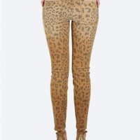 CURRENT/ELLIOTT The Stiletto Jean in Camel Leopard | Cropped