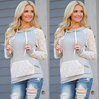 Fashion New Women Long Sleeve Hoodies Sweatshirt High Quality Casual Hooded Sexy Lace Pullover Tops