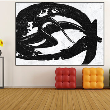 Minimalist Large abstract Painting wall art, original abstract painting, black and white extra large wall art canvas painting Signed