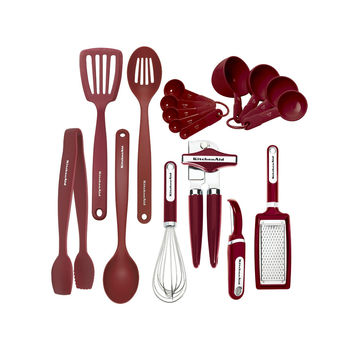 Red 17 Piece Complete Kitchen Tool and Gadget Set w Can Opener,Measuring Cups,Tongs