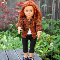 Earth Colored Lace Cardigan for 18 Inch Doll - Hand Knitted Sweater in Warm Colors for 18-Inch Fashion Doll - Handmade Apparel for Dolls