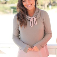 Olive and Blush Color Block Sweater