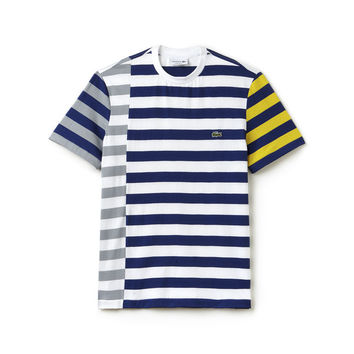 Men's Crew Neck Off-Center Stripes Cotton Jersey T-shirt