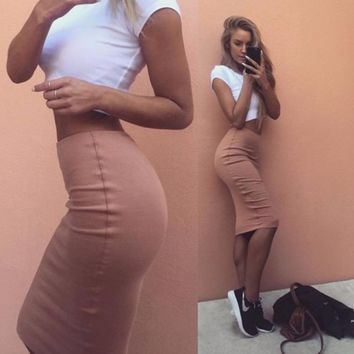 HOT TWO PIECE SHORT SLEEVE TOP AND CUTE SKIRT