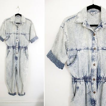 Vintage '80s - '90s Light Acid Wash Denim Jumpsuit - Loose Baggy Fit Stone Wash Jeans - Size Medium