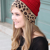 C.C.: Leopard Accent Beanie {Red}