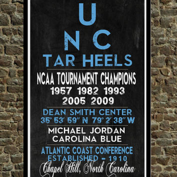 UNC Tar Heels - Eye Chart chalkboard print - sports subway sign - basketball, gift for fathers day