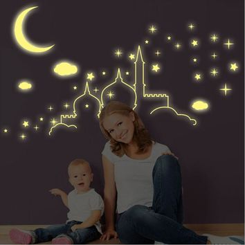 DIY 3D Cartoon Luminous Wall Stickers Fluorescent PVC Home Decors Glow Moon Stars Sky In the Dark for Nursery Kids Room Decals