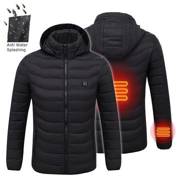 Digital Heating Hooded Work Jacket 5 Sizes Motorcycle Riding Skiing Snow Coats(Three Stall Ajustable Temperature Control)