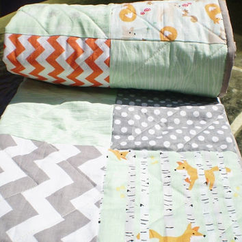 Baby quilt,Patchwork Baby blanket,baby boy bedding,baby girl quilt,woodland,rustic,grey,mint green,orange,chevron,dots,modern,deer,fawn,fox