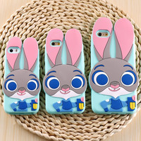 3D Cartoon Animals Phone Case Rabbit for iPhone 6S 6 Plus 5S Cases Soft Silicone Back Cover