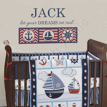 Nautical Boys Room Decal - Personalized Name Wall Decal for Baby Boy Nursery - Anchor Ship Wheel Sailboat Bedroom Decor 22Hx36W BN036