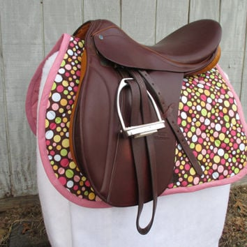 English All-Purpose Saddle Pad:  Brown and Pink Polka Dot