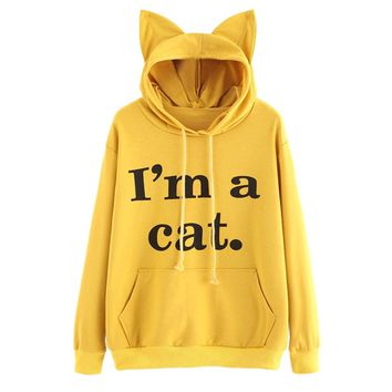 "Teen Girls Hoodies,Ankola Women ""I'm a Cat"" Hoodie Cat Ears Sweatshirt with Funny Saying"