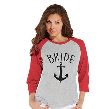 7 ate 9 Apparel Women's Nautical Bride Baseball Tee