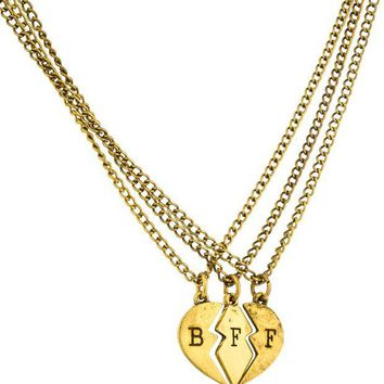 ONETOW Antique Goldtone Three Best Friend Forever Broken Heart Pieces Pendant with an 18 Inch Adjustable Necklaces Day-First?