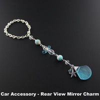 Beachy Car Accessories For Women - Blue Sea Glass Sea Shell & Angel Rear View Mirror Charm - Car Mirror Jewelry - Sea Glass Angel Decor