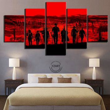 Canvas Poster Video Games Red Dead Redemption 2 Gutch's Gang Western Action Adventure Game Wall Art Home Decor