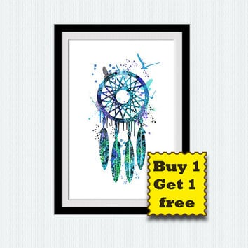 Dreamcatcher watercolor poster, dreamcatcher print, native american, colorful, nursery, home decoration, gift, wall hanging poster,  W86