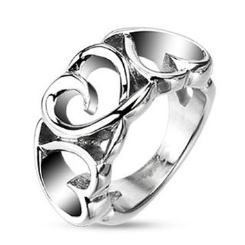 Triple Heart Loop Hollow Cast Ring Stainless Steel