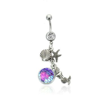 16G Body Piercing Jewelry with Silver Plated  Rainbow  Scales Mermaid  Shaped Dangle Belly Button Ring for Women