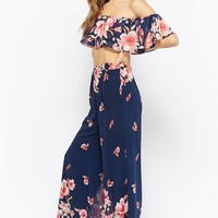 Floral Print Crop Top & Palazzo Pants Set