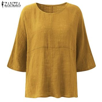ZANZEA Womens Fashion Crew Neck 3/4 Sleeve Cotton Linen Baggy Blouse 2018 Autumn Casual Loose Blusas Solid Shirts Work Tops