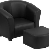 Kids Black Chair and Footstool