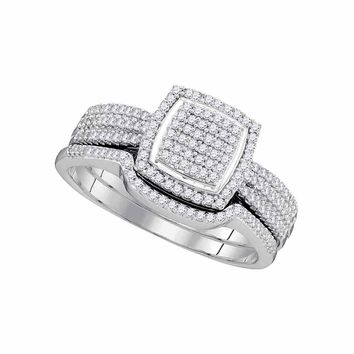 10kt White Gold Womens Round Diamond Square Cluster Bridal Wedding Engagement Ring Band Set 1/2 Cttw