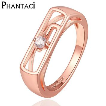 2017 Last Designer Geometric Crystal Wedding Ring Rose Gold Color Rings For Women Lady Finger Jewelry