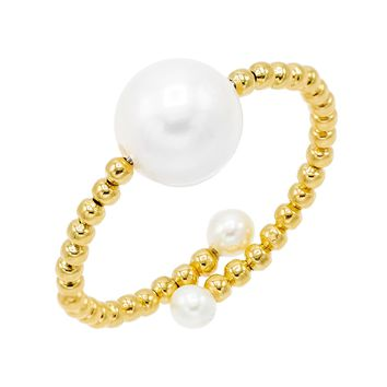 Beaded Pearl Ring 14K