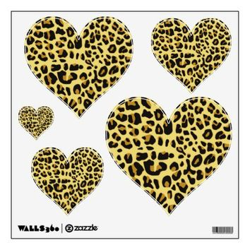 Leopard Print Hearts Wall Decals from Zazzle.com