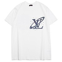 LV 2019 new colorful 3M reflective LOGO astronaut reflective printing short-sleeved T-shirt white