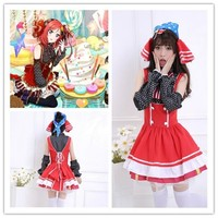 Free Shipping  Lolita GirlsCostume Hot Japanese Anime Love Live Candy Maid Cosplay Nishikino Maki Cosplay Costume one size