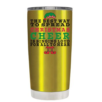 TREK The Best Way to Spread Christmas Cheer on Translucent Gold 20 oz Tumbler Cup