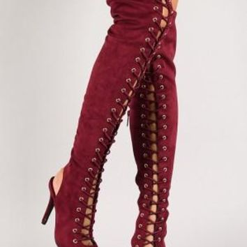 Breckelle Lace Up Back Cutout Stiletto Over-The-Knee Boot