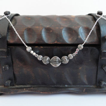 Oxidized Corrugated Graduated Metal Bead Necklace