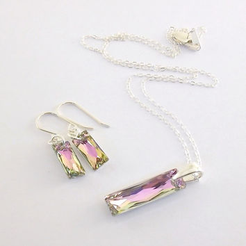 Necklace Set Queen Baguette Crystal Light Vitrail and Sterling Silver