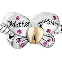 Pugster Silver Plated Mother Daughter Charms Separable Butterfly Bead Fits Pandora Charms Bracelet (Blue-Green))