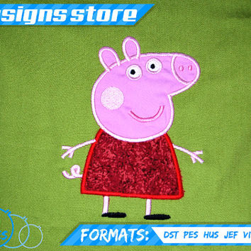 PEPPA PIG Applique Machine Embroidery Design 3 Sizes