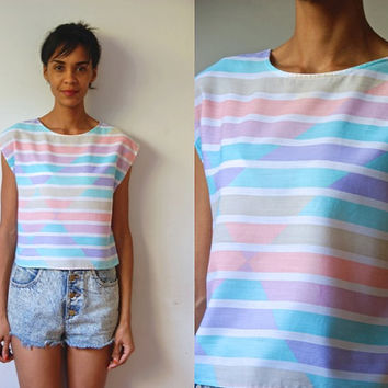 Vtg Pastel Retro Stripes Sleeveless Lightweight Cotton Top