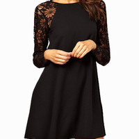 Black Long Sleeve Floral Sheer Lace with Back Keyhole Casual Mini Dress